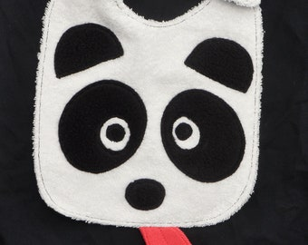 Bavoir Panda, éponge & coton à pois, Grand bavoir à scratch, 0-3 ans