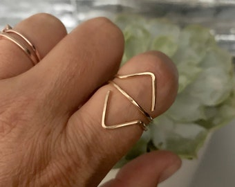 knuckle ring simple gold band sterling silver knuckle ring hammered spike ring Stacking ring