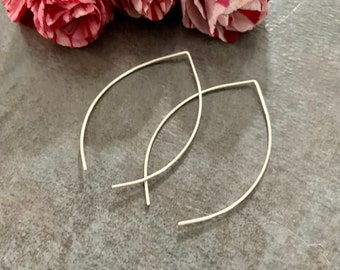 Sterling Gold Wire Threaders Rose Gold Wishbone Hoop Brass Beads Wishbone Earrings Hammered Metal Threader Earrings Hand Formed