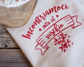 "Embroidered Canvas ""Meet under the Mistletoe"""