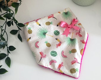 Bandana bib in Pink Flamingo and pineapples cotton fabric and towelling