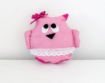 Stuffed plush owl in pink cotton fabric  and white fleece