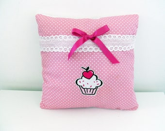 Cupcake cushion in pink cotton fabric with white dots