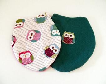 Doudous pink and blue owl motif