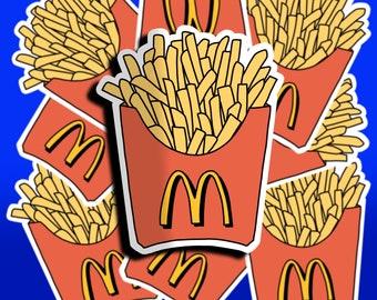 Fast Food French Fries Sticker, Waterproof and Water Resistant Sticker, Weatherproof Vinyl Sticker