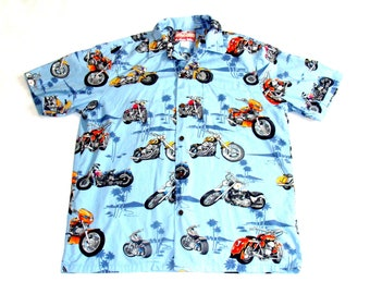 53816cd7 RJC hawaii motorcycle shirt - vintage hawaiian men's button up size large