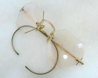 317961d49e8 Old gold fill glasses - rose pink octagon lens eyeglasses - NJ 1 10 12k  steampunk victorian