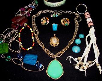 Vintage southwestern  jewelry lot-rockabilly necklace-southwest bracelet-ready to wear