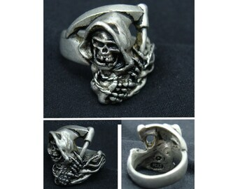Vintage handmade grim reaper ring-artist signed gothic jewelry