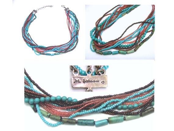 Handmade Mercedes Salazar bead necklace  gorgeous