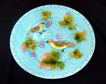 Vintage majolica bird plate - beautiful old german china - french country
