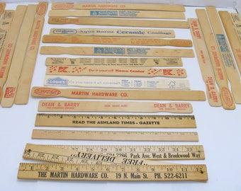 Vintage wood ruler lot-old wooden yardstick- paint stirrer-craft paddles