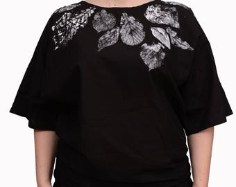 Womens black blouse, Hand painted and hand crafted, Bomber tee CUSTOM ORDER