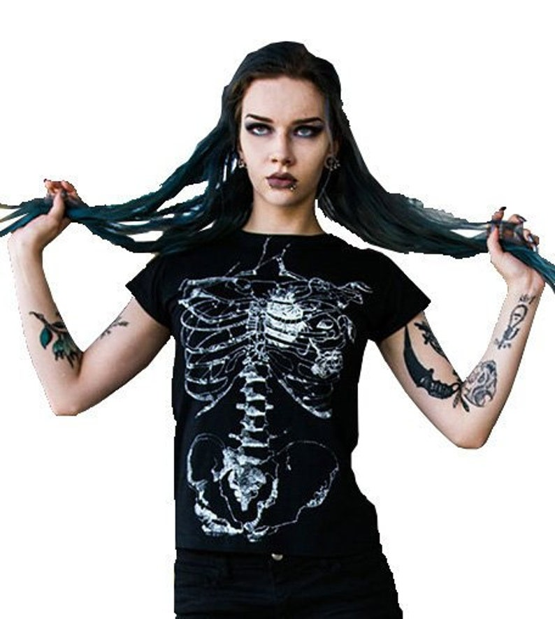 df9382184c3 T-shirt with skeleton Goth clothing with anatomical ribb