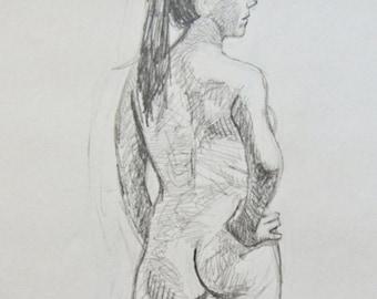 Standing Nude Original Pencil Drawing