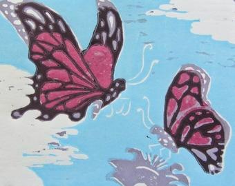 Butterflies Original Woodblock Print