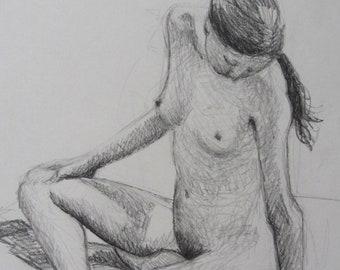 Seated Nude Original Drawing
