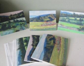 Set of 6 Pastel Landscape Art Notecards