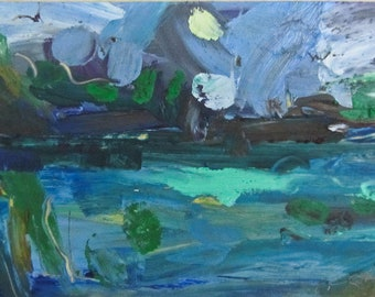 At the Pond original oil painting