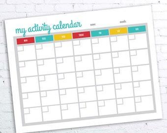 Activity Calendar Printable