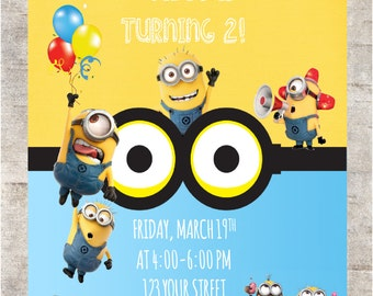 MINIONS  Birthday Invitation ***Digital Invitation 4x6 or 5x7
