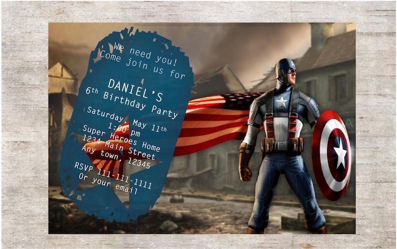 Invito Festa Di Compleanno Capitan America Invito Etsy