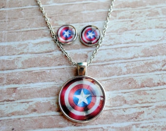 Captain America Necklace or Earrings -- Steve Rogers -- Bucky Barnes -- Fandom Fashion -- Handmade Jewelry -- The Avengers - Civil War