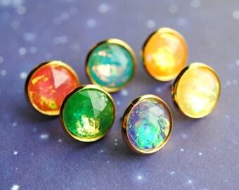 BACKORDER -- Infinity Gem Studs -- Infinity Stone Inspired -- The Avengers -- Thanos -- Infinity Wars -- Fandom Fashion -- Nerdy -- Geeky