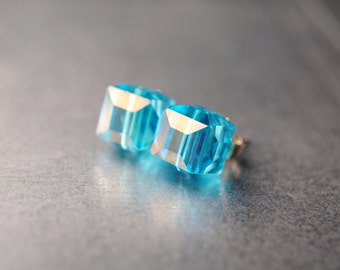 Tesseract Earrings -- Tesseract Cube -- The Avengers Inspired -- Loki -- Austrian Crystal -- Avengers Jewelry -- ORIGINAL -- Space Gem