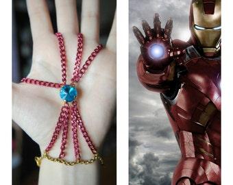 IRON MAN Handchain -- Age of Jewelry Collection -- The Avengers -- Fandom Fashion -- Avengers Jewelry -- Repulsor -- Iron Man Jewelry