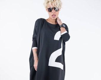 Black Extravagant Top, Oversize Sweater, Black Oversize Top