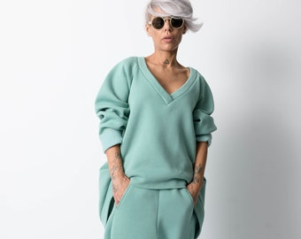 Green Two Piece Tracksuit For Women, Activewear For Women