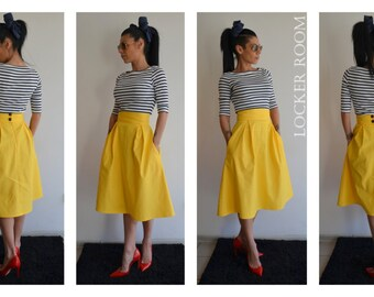 46d7d4318e2 A-Line Maxi Skirt  plus size skirt  Yellow maxi skirt  High waist skirt    Wedding skirt  Midi skirt  Full skirt Skirt with pockets