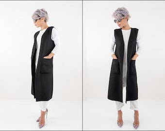 d8c7bff304ba6 Fall Black Sleeveless Coat
