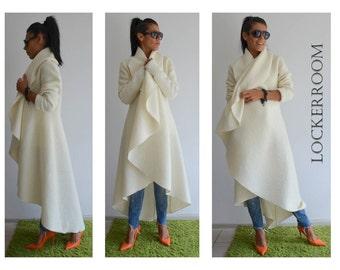 Maxi coat   White warm coat  Long extravagant coat  Women wool coat   Adorable Cashmere coat  Winter wool coat a60d51d8c