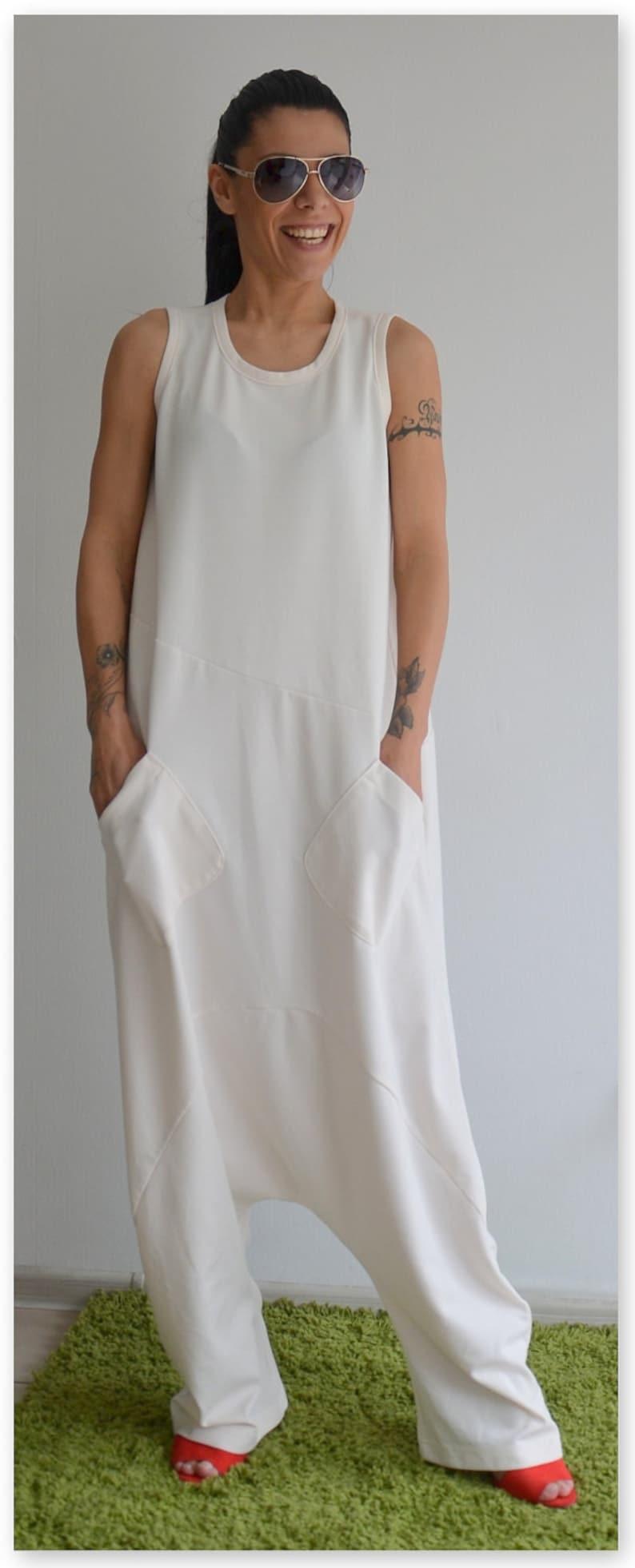 78014761e1d White Jumpsuit Harem jumpsuit Harem Pants Plus size