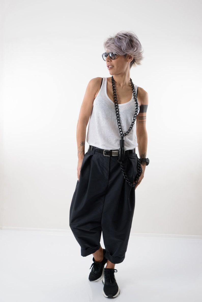Loose Casual Black Drop Crotch Harem Pants Extravagant Black Pants Side Pockets Unisex pants