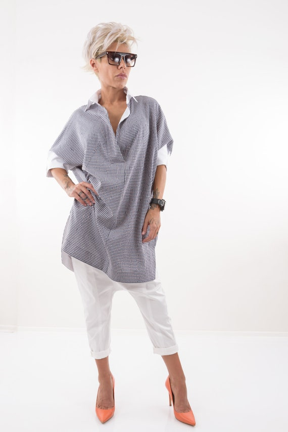 Plus Cotton Size Women Maternity Shirt Shirt Clothing Trendy Size Plaid Summer Blouse Clothing Plus Shirt Size Plus Clothing Tunic aw0qzR