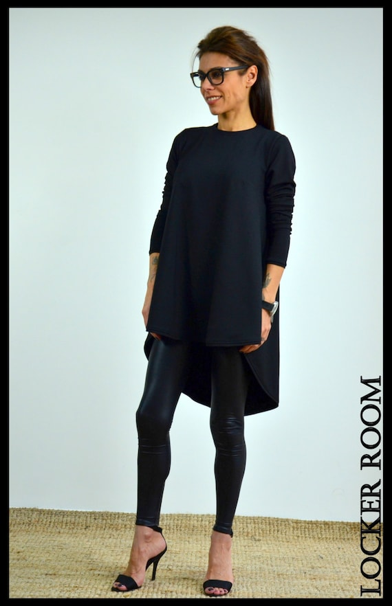 Black Shirt Tunic Dress Plus Size Dress Oversize Dress Etsy