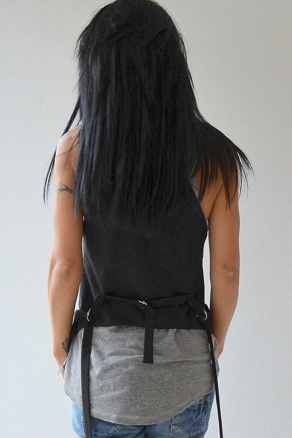 Womens Jacket Top Tank Women's Trench Vest Black Coat Trench Top Vest Crop Black fOp6yHqCp