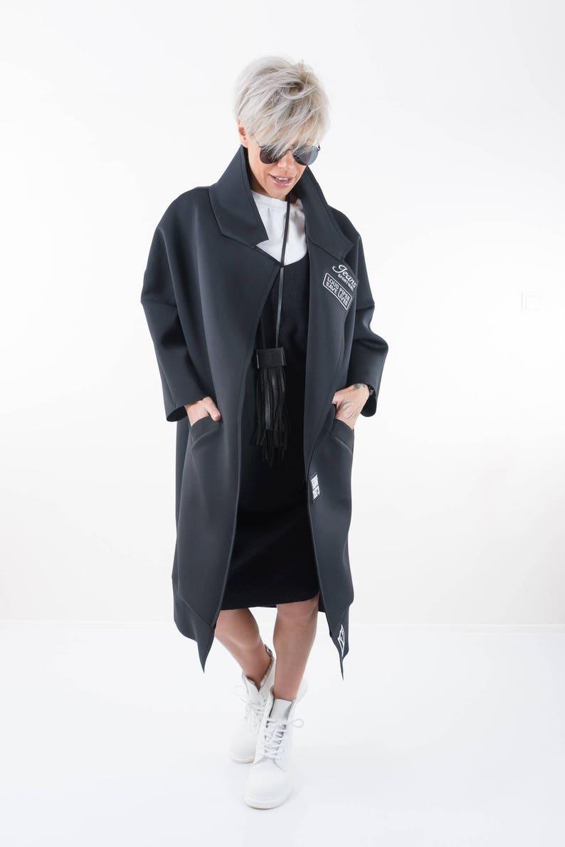 Women Trench Coat Oversize Cardigan Plus Size Clothing Winter Coat Black Jacket Winter Jacket