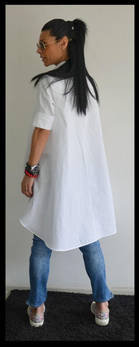 Size Asymmetric Shirt Shirt Tunic Blouse Snow White Summer Plus White Blouse Women Cotton Shirt Shirt Shirt Shirt Tunic White AWPxn5xwa