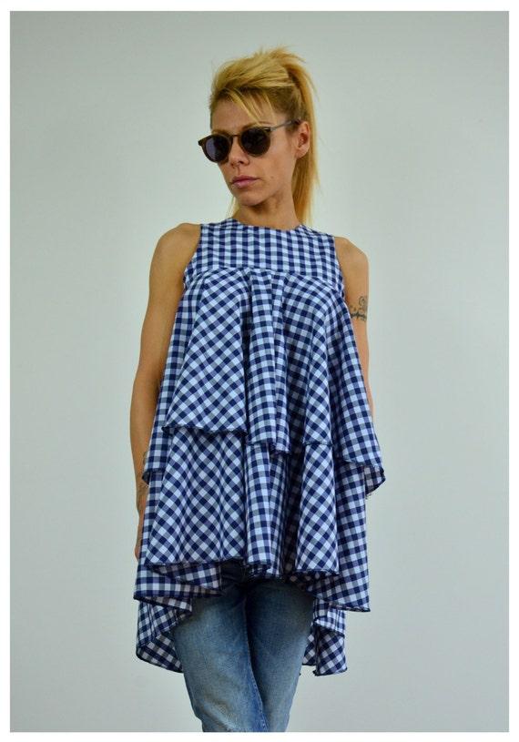 Summer Summer Plaid Crop Top Women Women Plus Clothing Top Blouse Tank Cotton Tunic Shirt Top Shirt Tank Top Size HHg8RTxwq