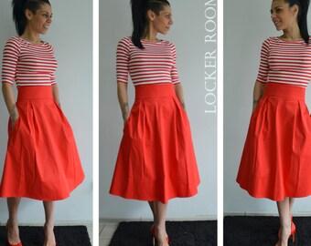 Red Skirt With Pockets, Loose Midi Skirt, Loose Cotton Skirt, Bridesmaid Skirt, Midi skirts, High Waist Skirt made by LOCKERROOM