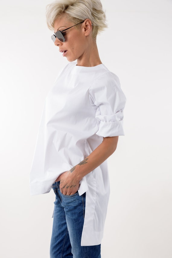 Snow Cotton Shirt White White Plus White Top Tunic Asymmetric Shirt Blouse shirt shirt Top Summer Blouse Women Size Clothing PxEfx7rqw