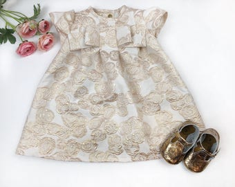 Clara Dress: Girl's Roses Floral Party Dress Outfit for Birthday, Easter, Mother's Day - Rose gold rose jacquard fabric