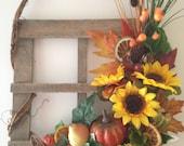 Fall Wooden Wreath, Handmade Sunflower Pumpkin Wreath, Home and Living