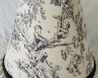 Black and Off White Toile Lamp Shade