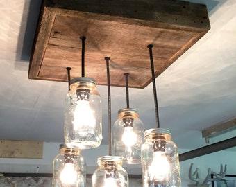 Mason jar chandelier etsy barn wood mason jar chandelier 5 jar aloadofball Gallery