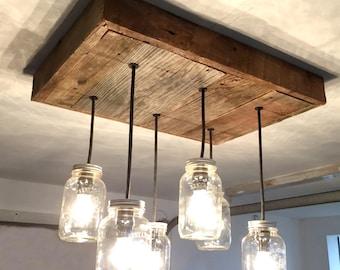 Mason jar chandelier etsy barn wood mason jar chandelier 6 jar aloadofball Choice Image